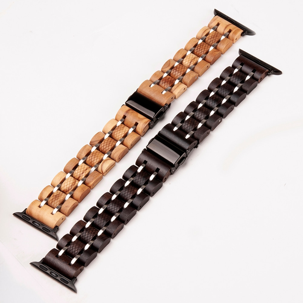 Wooden Band for Apple Watch with Metal Links
